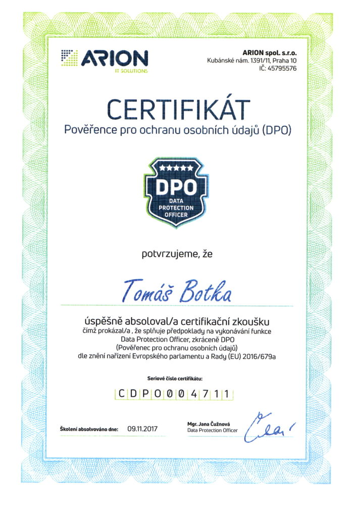 DPO certifikát CZ
