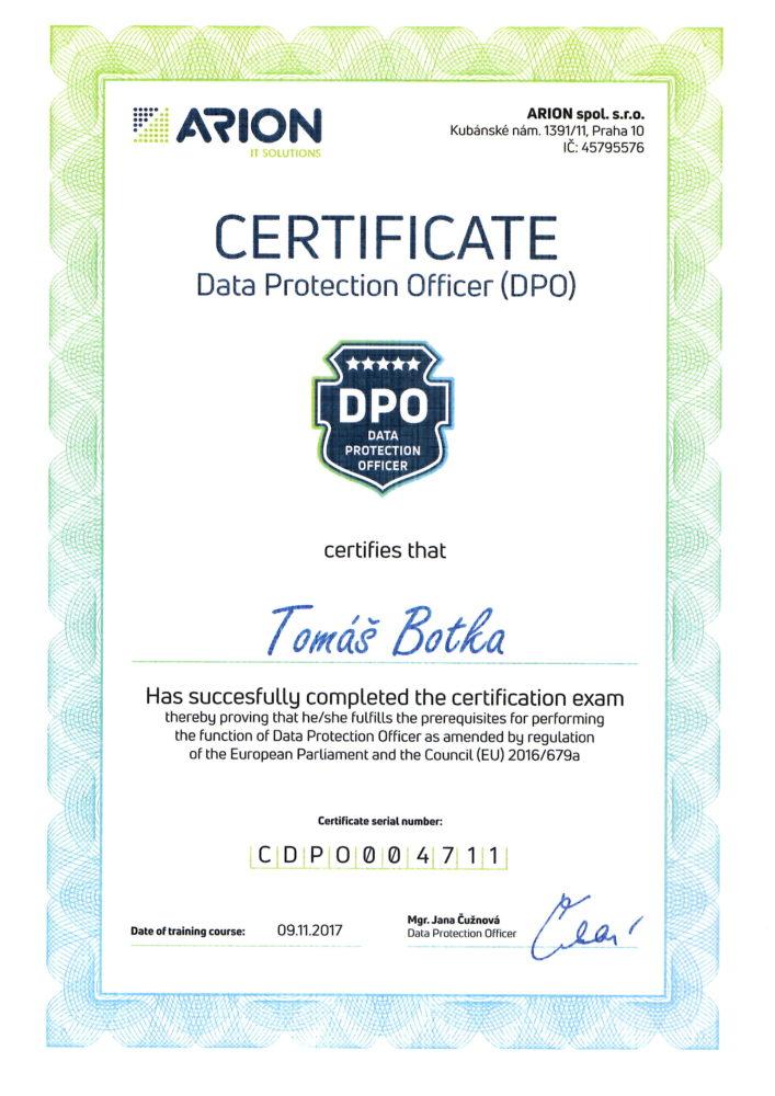 DPO certifikát EN